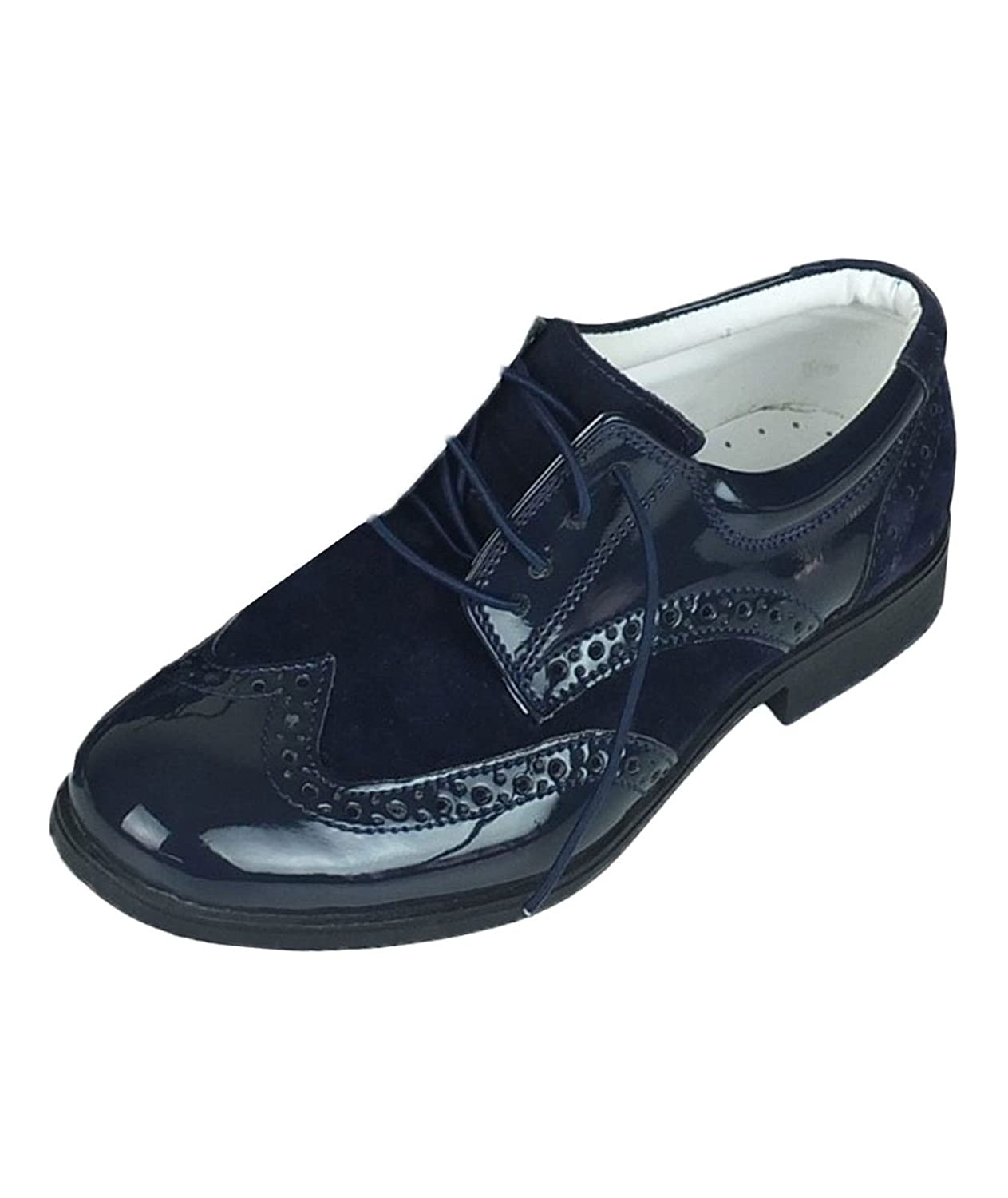 Boys Wedding Navy Suede and Patent Formal Brogue Shoes