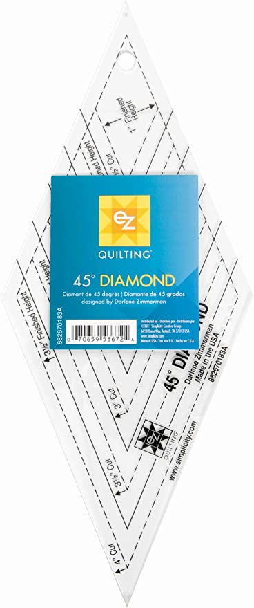 VViViD Clear Acrylic Plastic 45 Degree Diamond Shaped Template Quilting Ruler