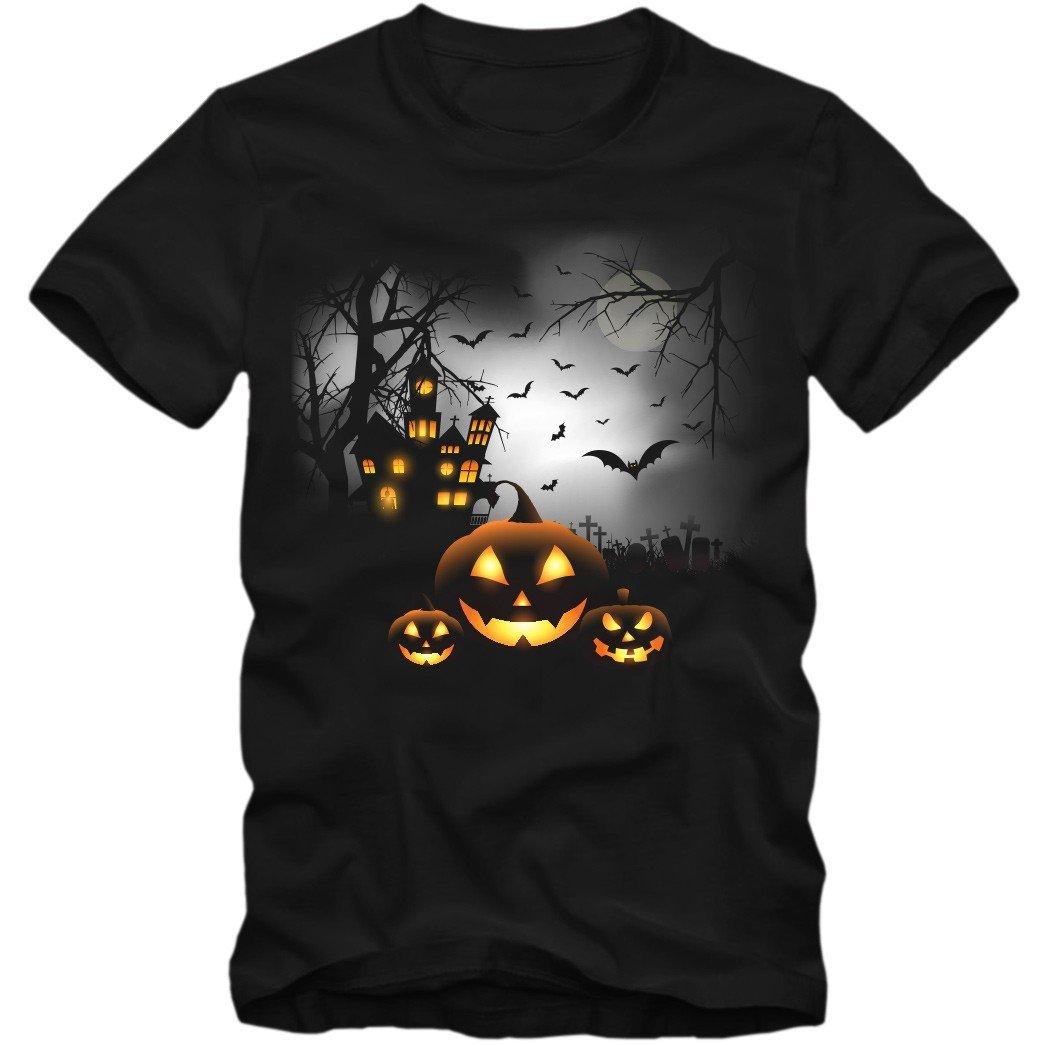 Shirtastic Kinder Unisex T-Shirt Halloween Gespenster Vampire Kürbis Shirt Süßes Saures DTG 02 B&C