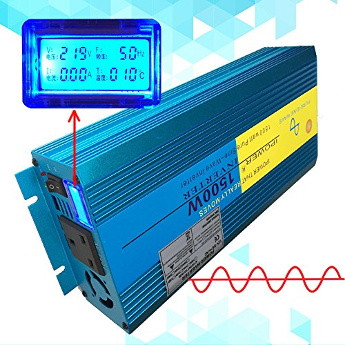 1500W 3000W Peak pure sine wave power inverter DC 12V To AC 230V with LCD display