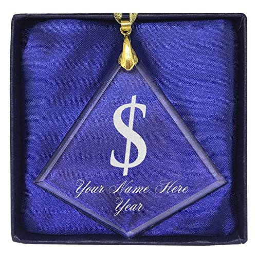 (LaserGram Christmas Ornament, Dollar Sign, Personalized Engraving Included (Diamond Shape))