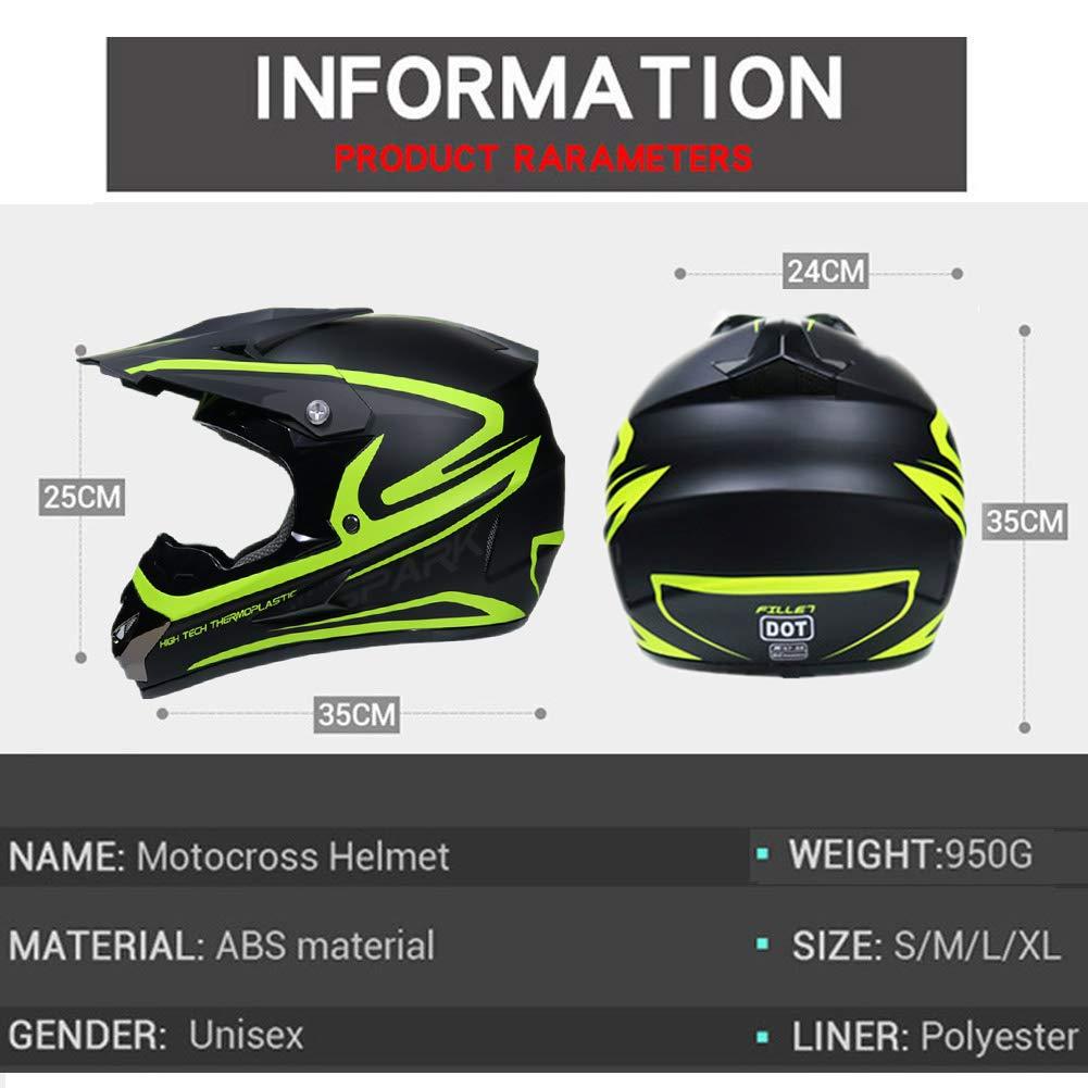 Mrddz Motocross Helm Herren Motorradhelm mit Brille Handschuhe Maske Vier Jahreszeiten Unisex Crosshelm Off-Road DH Enduro Motorrad Offroad-Helm f/ür Erwachsene M/änner Frauen