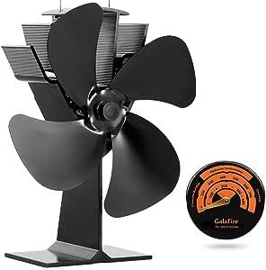 Grote luchtstroom kachelventilator, warmteaangedreven kachelventilator voor houtkachels, open haarden en kachels - met haardaccessoires oventhermometer