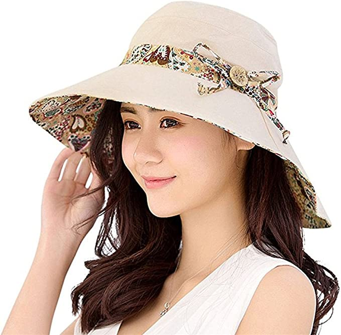 Yuccer Sun Hats Women Foldable uv Protection Bucket Hat with String for Summer Holiday Fishing Hiking