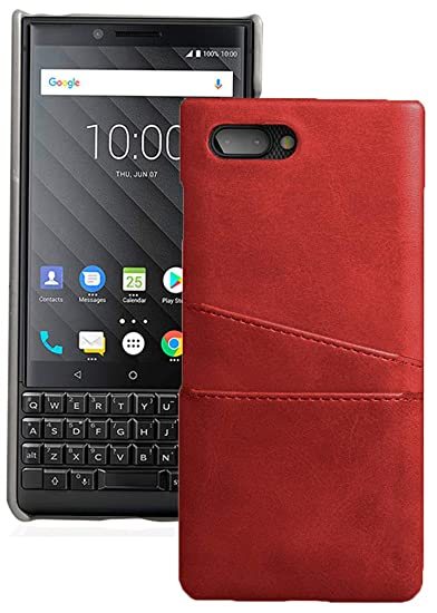 best service fe372 2d22e BlackBerry Key2 Case, Red Credit Card Slot Hard Shell Wallet Cover for  BlackBerry KEY2 Phone, Key 2 (BBF100-1, BBF100-4, BBF100-6)