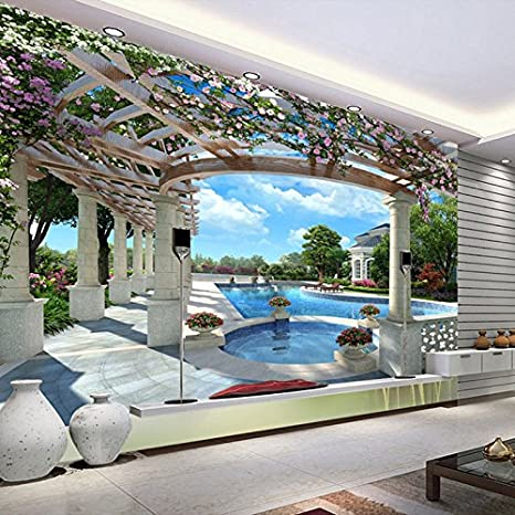 Estilo europeo Cielo azul Piscina Foto Papeles de pared Rollo Sala de estar Fondos de pantalla 3D Paisaje Hermoso fondo 350x245cm: Amazon.es: Bricolaje y herramientas