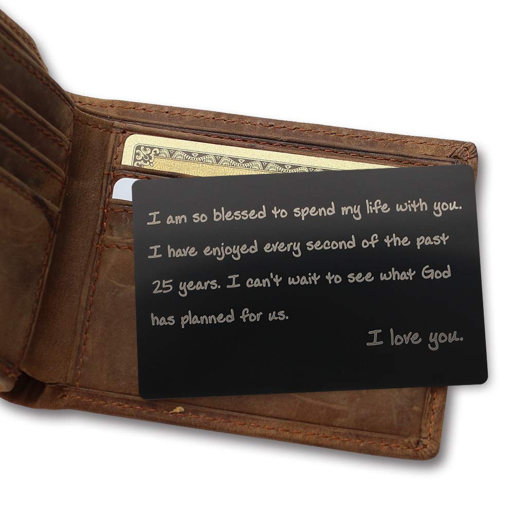 Stainless Steel 25th Anniversary Wallet Insert Gift - I Am So Blessed to Spend My Life with You, I Have Enjoyed Every Second of The Past 25 Years - Engraved 25th Anniversary Gifts for Husband, Wife