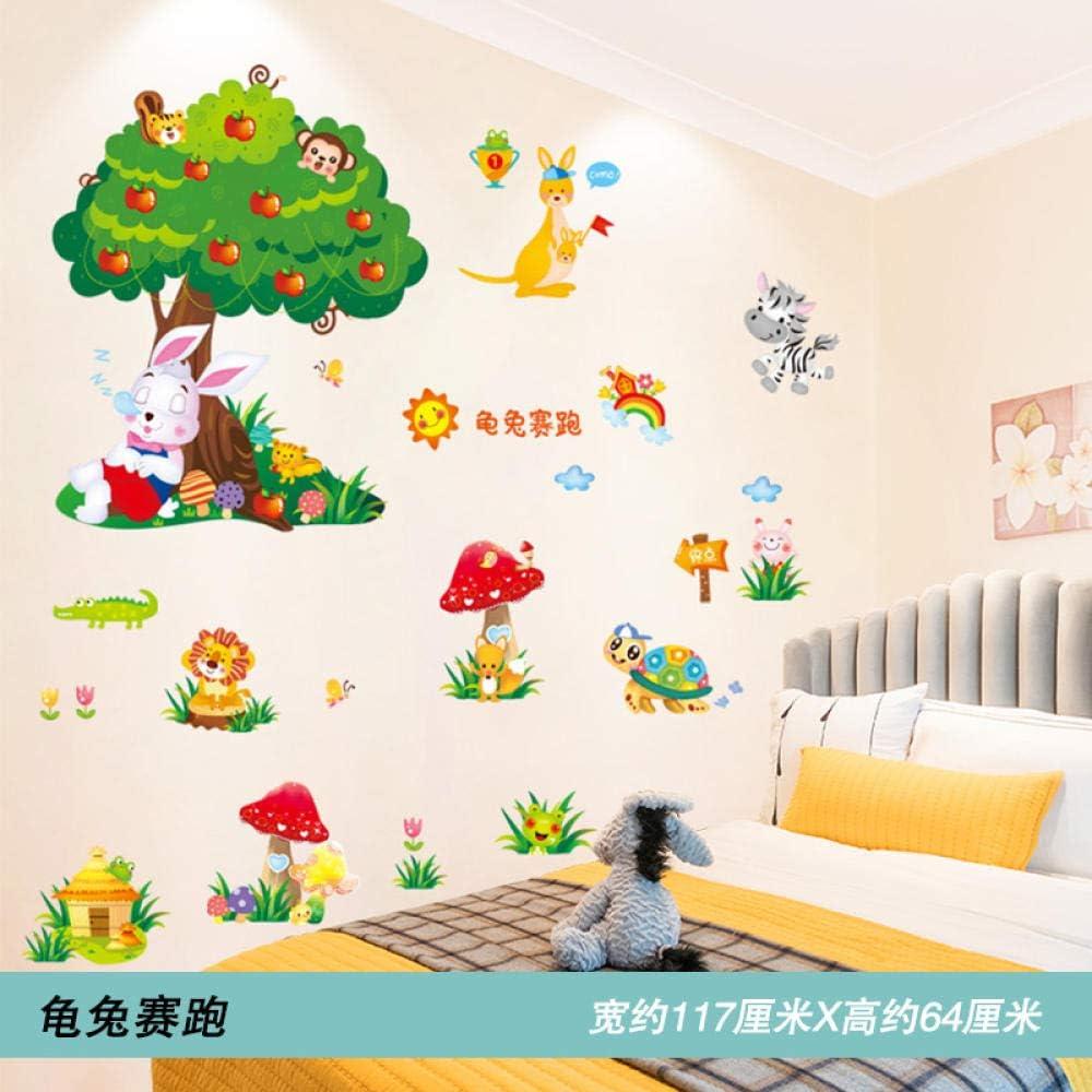 Disposición de la cabecera decorativa pegatinas de decoración de pared pegatinas de puerta para mascotas pegatinas de pared autoadhesivas18. Tortuga y Liebre Racing_Extra grande