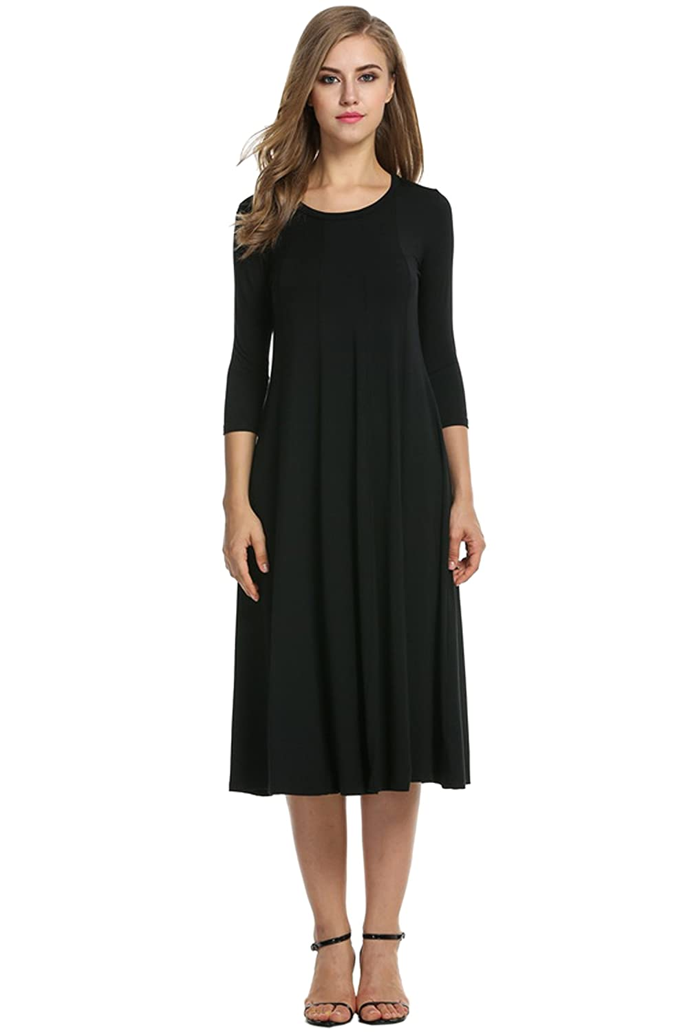 2f35b45744 Hotouch Women's 3/4 Sleeve A-line and Flare Midi Long Dress at Amazon Women's  Clothing store: