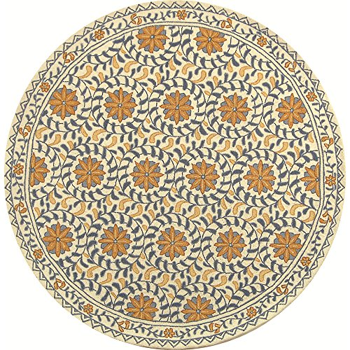 Safavieh Chelsea Collection HK150A Hand-Hooked Ivory and Blue Premium Wool Round Area Rug (8' Diameter) - 8r Chelsea Round Rug