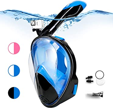 Full Face Snorkel Mask Dry Diving Scuba Swimming Goggles Anti-Fog Easy Breathing