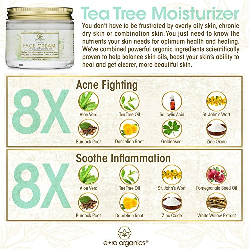 Tea Tree Oil Face Cream  For Oily Acne Prone Skin Care Natural  Organic Facial Moisturizer with 7X