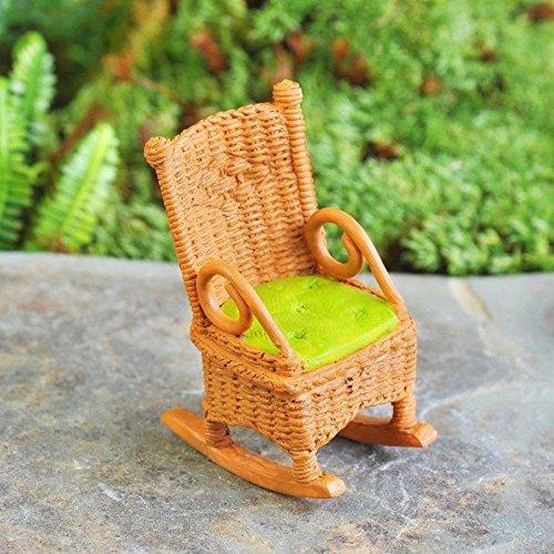 ollhouse FAIRY GARDEN Accessories - Wicker Rocking Chair With Green Cushion - Suppli. ()