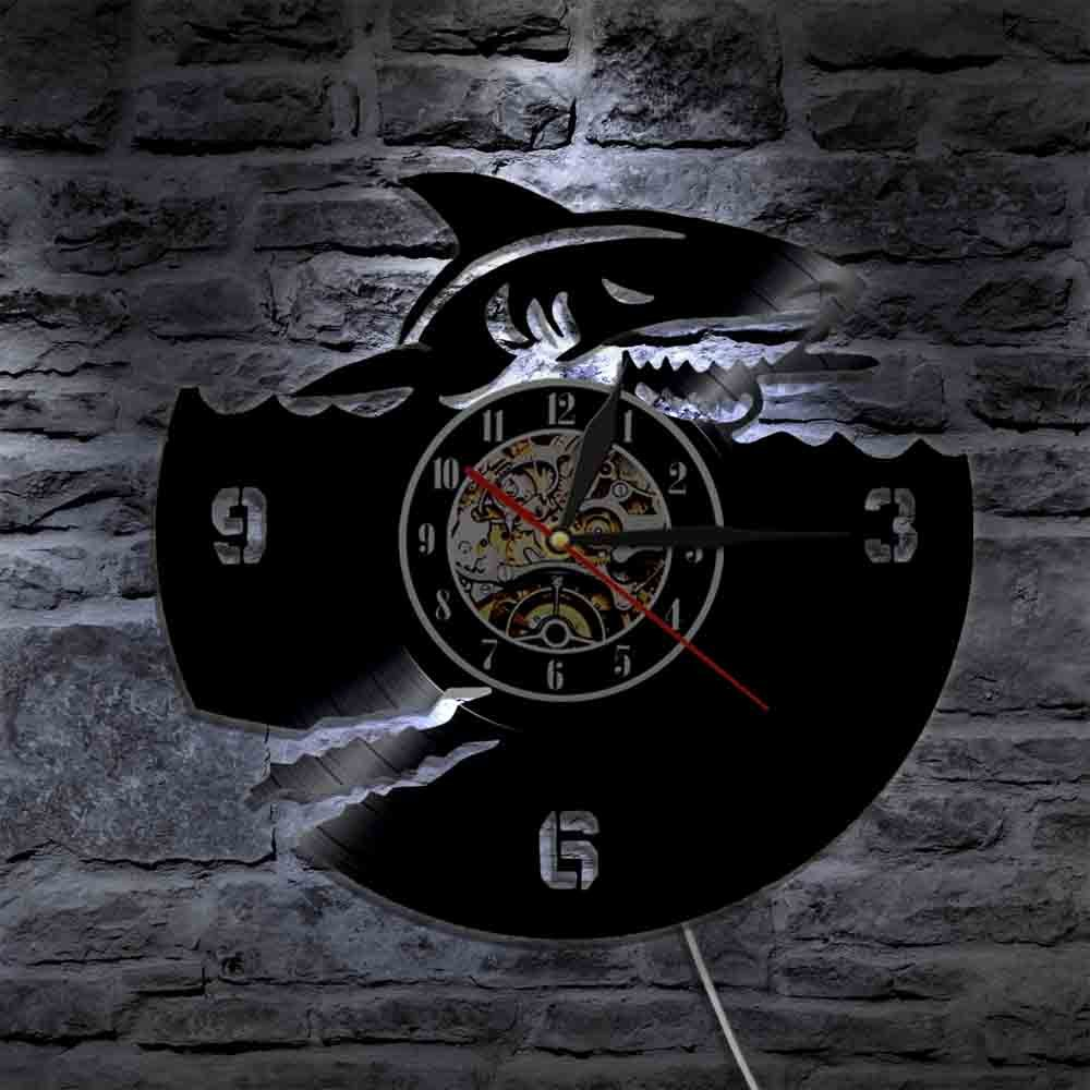 The Geeky Days Ocean Animals Shark Vinyl Record Wall Clock Great White Shark Modern Design Wall Watch Art Interior Home Decor Marine Jaws Gifts (With Led) by The Geeky Days (Image #5)