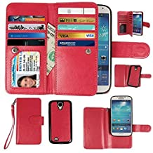 Case for Samsung Galaxy S4, xhorizon Premium Leather Folio Case [Wallet Function] [Magnetic Detachable] Fashion Wristlet Lanyard Hand Strap Purse Soft Flip Book Style Multiple Card Slots Cash Compartment Pocket with Magnetic Closure Case Cover Skin ZA5 for Samsung Galaxy S4 (I9500) - Red