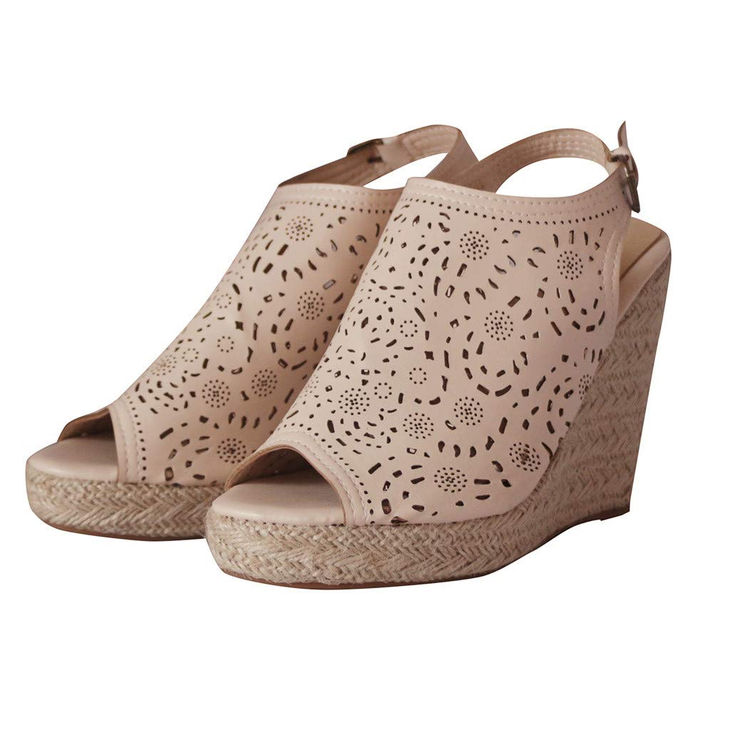 LUCAMORE Womens Fashion Hollow Wedges Peep Toe Straw Thick Bottom Shoes Roman Sandals by LUCA-Sandals (Image #5)