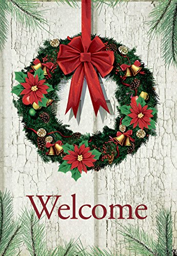 - Morigins Welcome Christmas Wreath Double Sided Decorative Winter Garden Flag 12.5