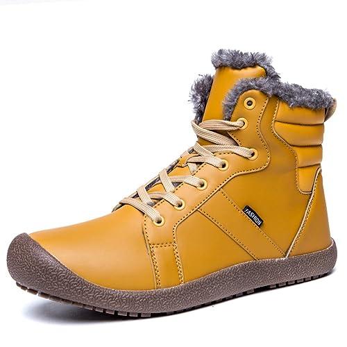 AFFINEST Uomo Stivali da Neve Scarpe Invernali Trekking Outdoor Piatto  Felpa Caloroso Caviglia Scarpe Impermeabile Boots di Cotone(Giallo d8ca19c9686