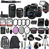 Canon EOS Rebel T6i DSLR Camera with EF-S 18-55mm f/3.5-5.6 IS STM Lens + EF 75-300mm f/4-5.6 III + 2Pcs 32GB Sandisk SD Memory + Automatic Flash + Battery Grip + Filter & Macro Kits + Backpack + More