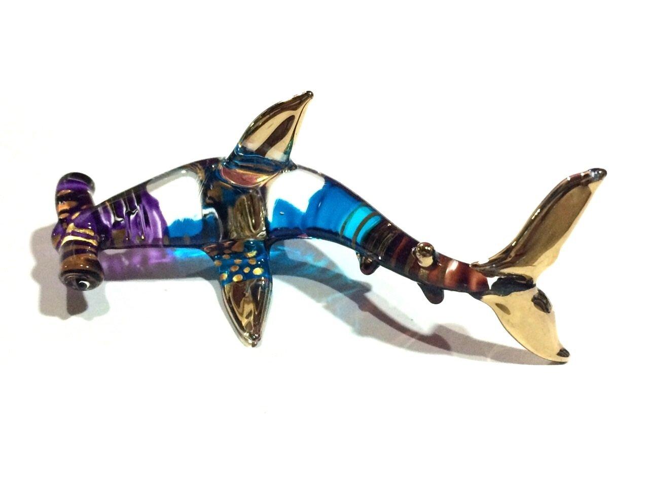 Handmade Hammerhead Shark Art Glass Blown Marine Sea Animal Figurine