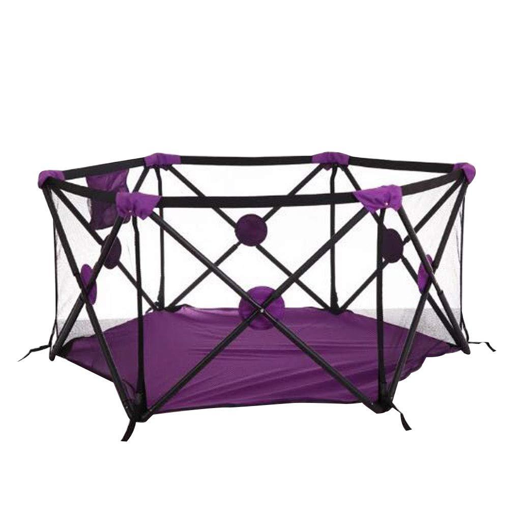 ベビーサークルプレイヤード 赤ちゃん フェンス ボールピットのテントの塀の通気性の網、携帯用屋内屋外および公園の赤ん坊のよいギフトの赤ん坊の幼児の青サイズ29.53 x 29.53 x 27.56  Purple B07SM6FJQZ