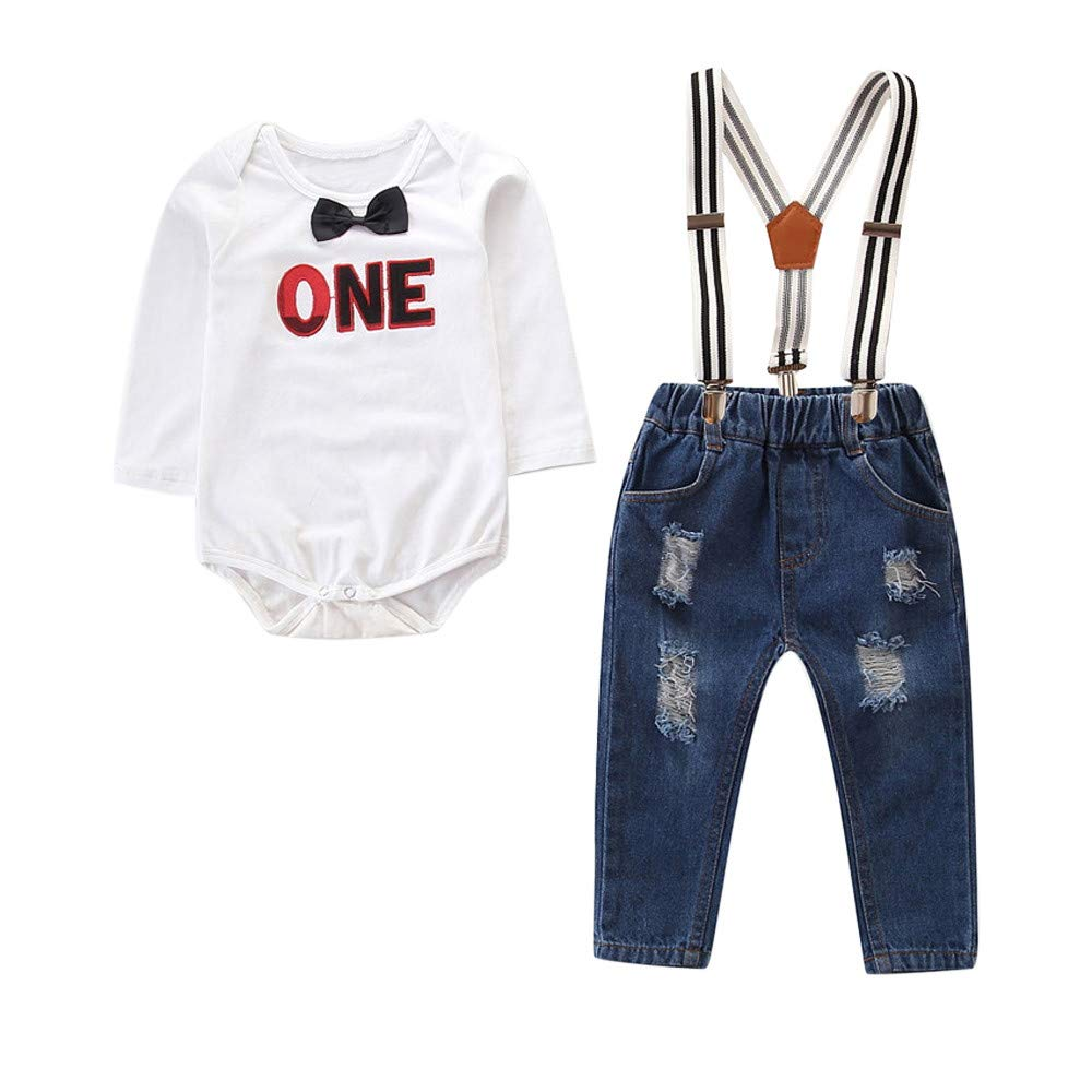 Baby Boys Clothes Set, 0-24 Months Toddler Baby Boy Clothes Set Long Sleeve Bowtie Romper Tops and Suspenders Ripped Denim Pants Outfits Gentleman Outfit Clothes