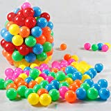 Suidcsui Free BPA Free Crush Proof Plastic Ball, Colorful Fun Balls with Storage Mesh Bag for Ball Pit Baby Kids Tent (100 PCS Ocean Balls)