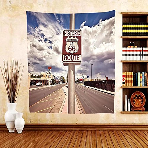 Gzhihine Custom tapestry Americana Decor Collection Historic New Mexico U.S 66 Route Sign Roadway Driving Roadside Nostalgia Scenery Bedroom Living Room Dorm Tapestry (Tapestry 66 Route)