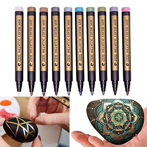 (ViShow Metallic Markers Paint Marker Pens - Medium Point Metallic Permanent Markers for Rock Painting, Black Paper, Gift Card Making, Scrapbooking, Metal, Ceramics, Wine Glass, Set of 10 (Multicolor) )