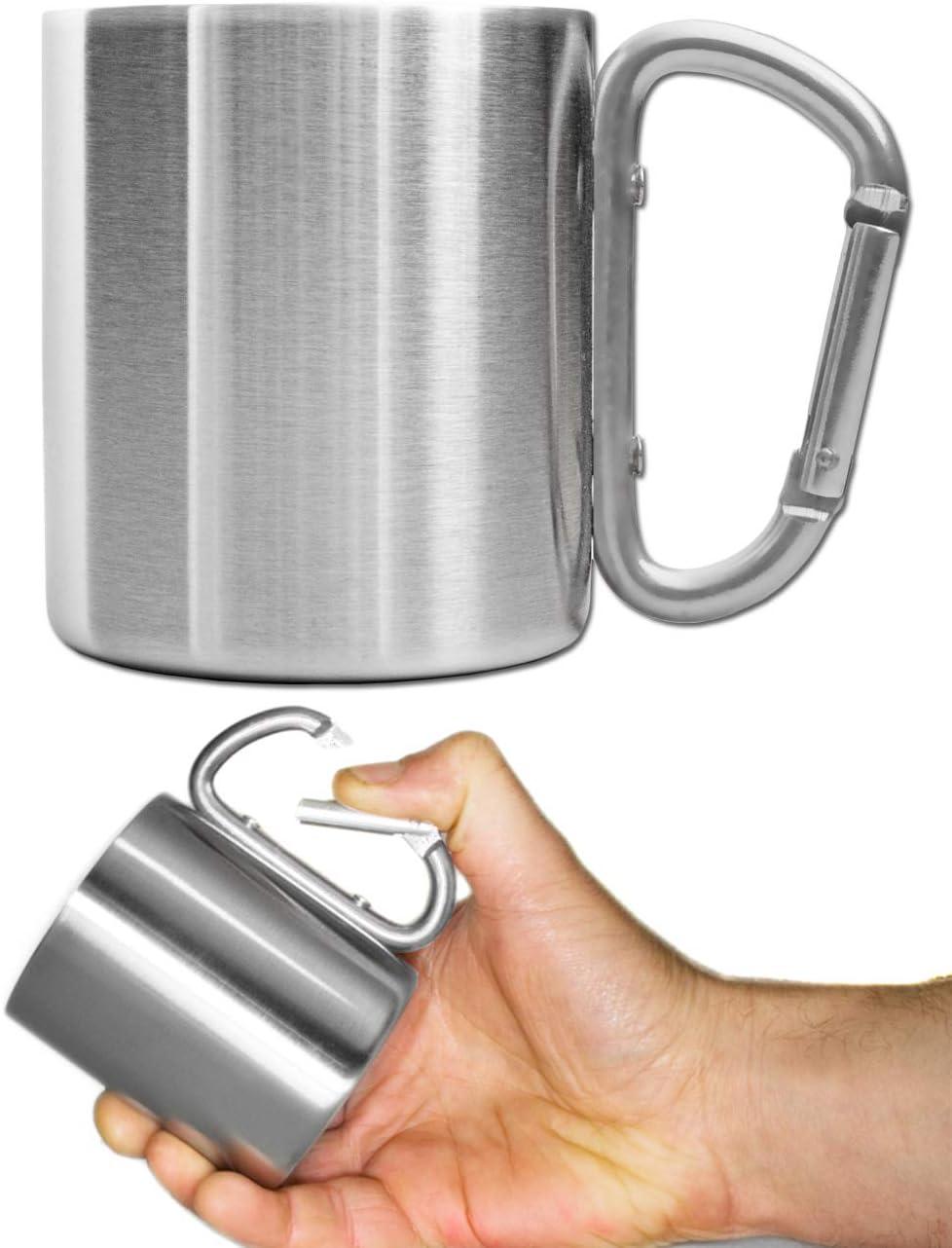Outdoor Saxx® - Taza de camping, vaso de exterior, vaso de metal, con mango de mosquetón atornillado, acero inoxidable, senderismo, trekking, trabajo, 250 ml, color plateado