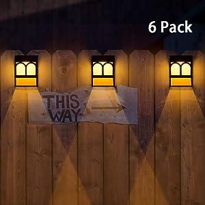 Solar Deck Lights, Led Outdoor Garden Decorative Wall Mount Fence Post Lighting-6pack