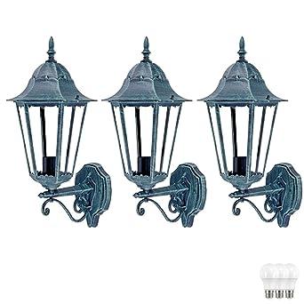 LED Wand Lampe ALU Haus Tür Glas Laterne schwarz Terrassen Außen Leuchte Garten
