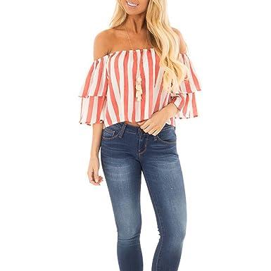 Chaleco de Mujer, URIBAKY Off Shoulder Tank Casual Camisetas Blusa Suelta: Amazon.es: Ropa y accesorios