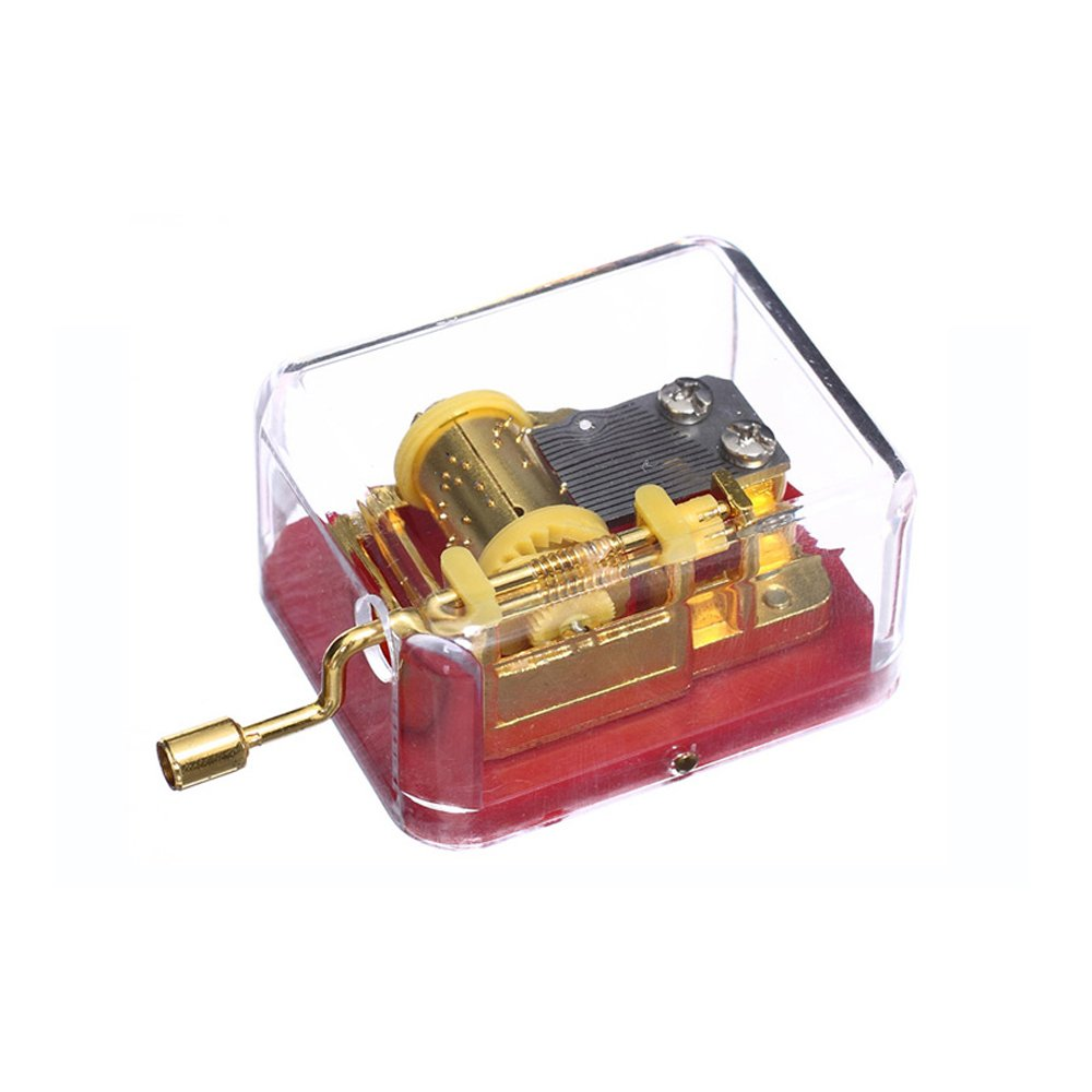 Plastic Music Box Gold-plating Movement Play Carry You from Castle in the Sky-Laputa , set of 1, Red Base (Tune is Castle in the Sky) Huiliduo SY002-05L-R