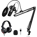 USB Microphone with Studio Headphone Set 192kHz/24 bit MAONO A04H Vocal Condenser Cardioid Podcast Mic for Mac and Windows, YouTube, Gaming, Livestreaming, Voice Over
