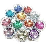 Kalaram Nail Art Shinning Glitter (Multicolour, KNASG231220172054) - Set of 12