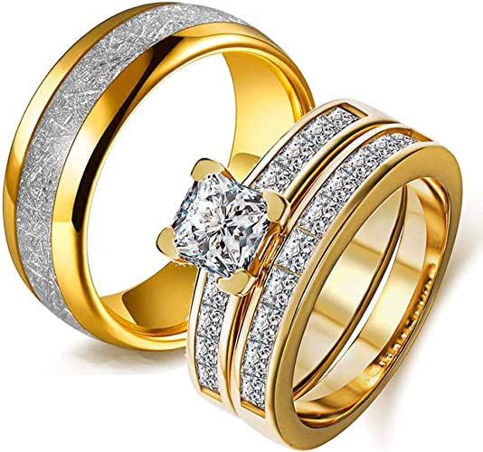 Amazon Com Wedding Ring Set Two Rings His Hers Couples Rings Women S 10k Yellow Gold Filled White Cz Wedding Engagement Ring Bridal Sets Men S Stainless Steel Wedding Band Jewelry
