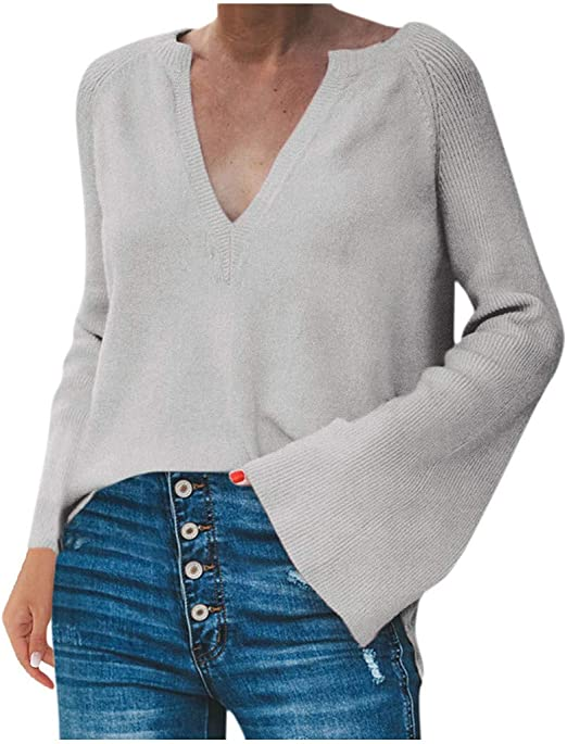 LEKODE Sweater Womens Warm Solid V-Neck Long Sleeve