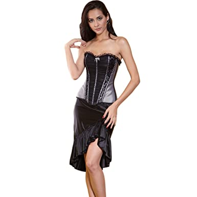 88eb6c1644 Fashion Womens Vintage Sexy Removable Silky fabric Corset with black skirt  (Large)