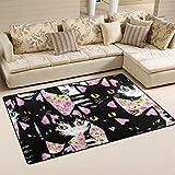 WOZO Black Cat Kitten Rose Flower Area Rug Rugs Non-Slip Floor Mat Doormats for Living Room Bedroom 60 x 39 inches