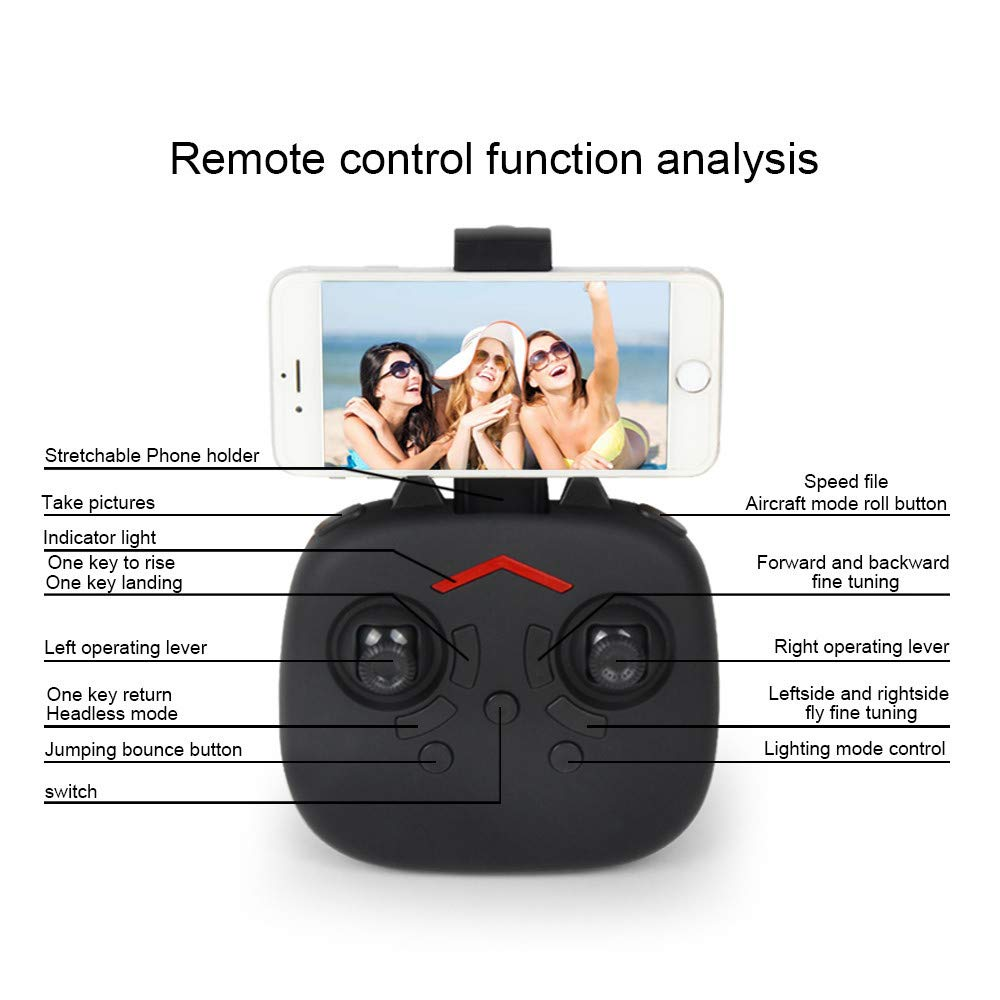 FPV Drone with Camera WiFi, RC Quadcopter 2.4G 6 Axis-Remote Control with Altitude Hold, Headless, Route Setting, One-Key Take-Off/Landing land-air-jump 3Mode Assemble Deformation (2.4G, Black) by S.H.EEE (Image #3)