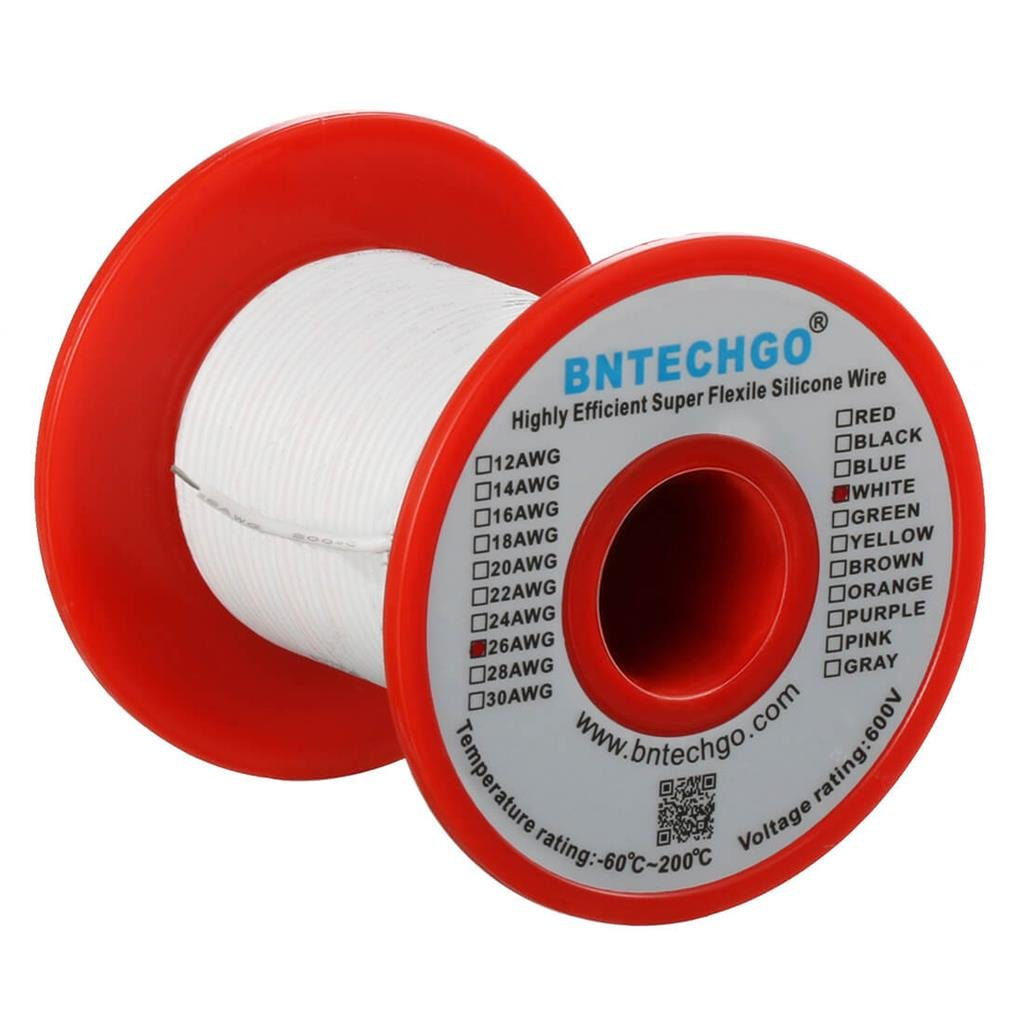 BNTECHGO 26 Gauge Silicone Wire Spool Red 100 ft Ultra Flexible High Temp 200 deg C 600V 26 AWG Silicone Rubber Wire 30 Strands of Tinned Copper Wire Stranded Wire for Model Low Impedance