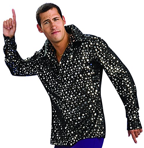 Rubie's Men's Adult Costume Disco Shirt, Black/Silver, ()