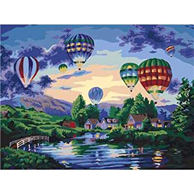 HebeTop Paint by Numbers Kits with Brushes and Acrylic Pigment DIY Canvas Painting for Adults Beginner 16 x 20 inch: Clothing
