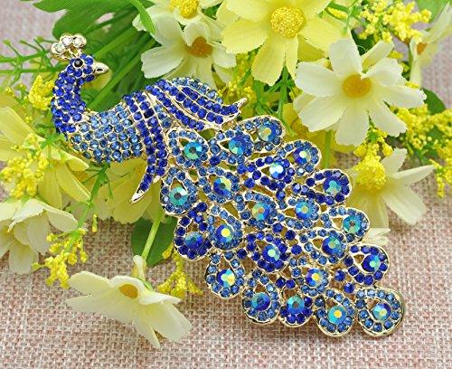 Gyn&Joy Gold-Tone Art Gorgeous Peacock Austrian Crystal Rhinestone Brooch Pins 5 Inch BZ055 (Blue) by Gyn&Joy (Image #4)