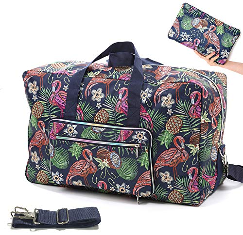 Womens Foldable Travel Duffel Bag 50L Large Cute Floral Travel Bag Hospital Bag Weekender Overnight Carry On Bag Checked Luggage Tote Bag For Girls Kids (flamingo C)