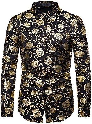 LISILI Camisa De Hombre Club Nocturno Hipster Oro Rosa Impreso Ajustado Manga Larga Abotonar Camisa De Vestir para Fiesta/Boda/Espectáculos,Negro,L: Amazon.es: Hogar