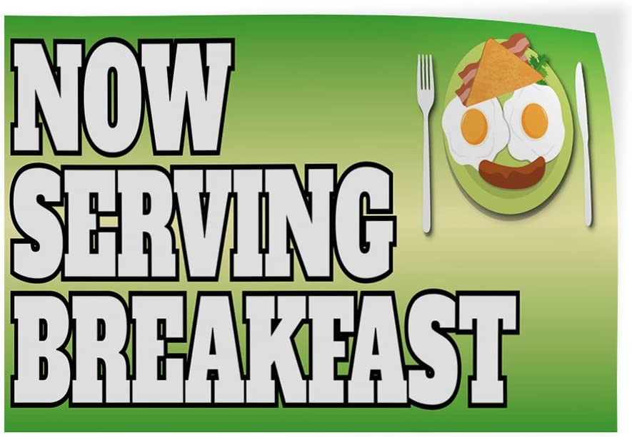 Decal Stickers Now Serving Breakfast Business Vinyl Store Sign Label