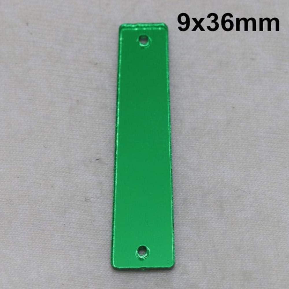 PENVEAT Espejo acrílico Verde Cosido en pedrería Espejo Plano de Bricolaje Acrílico Cosido en Piedras con Agujeros para Coser, A06-9x36,100 Piezas