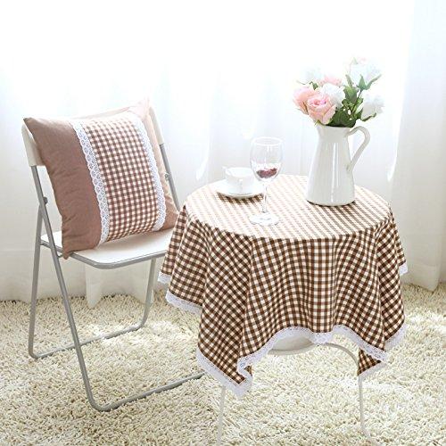 Hctina Nappes À Manger Table De Café Couvrir Tissu Couleur Grille Cercle 140*140Cm